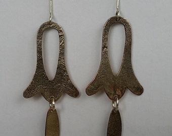 Silver on Copper Earrings , Sterling Silver hooks