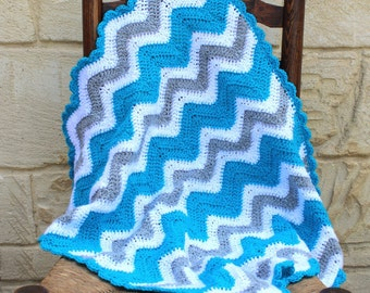 Baby blanket, handmade, crocheted blanket for babies in turquoise, white and grey