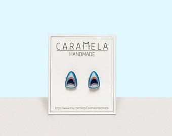Shark earrings Shark Stud Earrings Jaws earrings Horror jewelry Gift idea