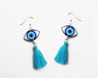 Evil eye drop Earrings Evil eye dangle earrings Gift for Her