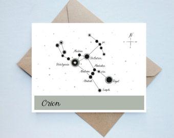 Handmade Constellations Card - Orion // Aerospace Engineer - Engineer Card - Constellation Card - Nerdy Card - Aerospace - Physics