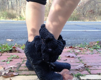 Crochet Boots,Outdoor Boots, Black Hand Made  Boots, Handmade to Order