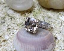 Unique engagement ring White Gold Morganite Engagement & Wedding Ring Set Bridal diamond rings promise ring rose gold Anniversary band ooak