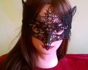 Delicate mask Fox decorated with rhinestones