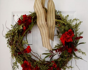 Red Birds and Greenery Wreath, Front Door Wreath, Rustic Natural Wreath, Farmhouse Wreath