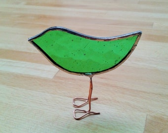 Green Stained Glass Standing Bird Ornament. Hand made. Bird gift. Green glass. Small gift.