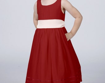 Ruby Red Flowergirl Dress with Complimentary Sash available in all colours by Matchimony