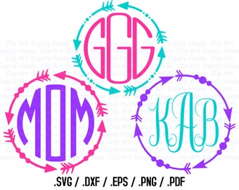 Tribal Arrow Circle Monogram Frame Design Files, Use With Silhouette or Cricut, Tribal SVG Silhouette, Tribal Circle Vector - CA354