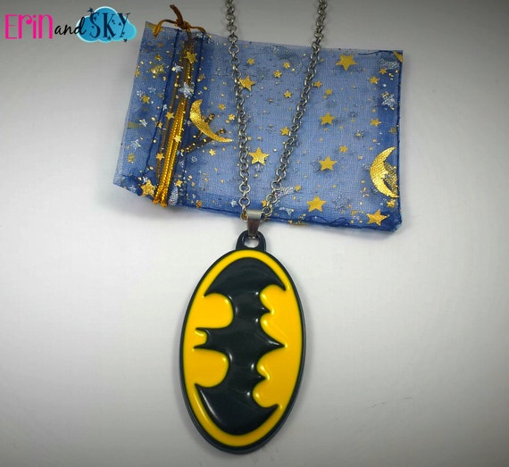 Batman Necklace - FREE SHIPPING - DC Comics Inspired Super Hero Comic Book Jewelry - Geeky Superhero Necklaces - Batman Emblem Gift