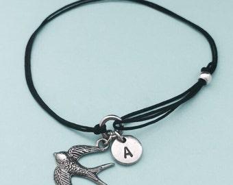 Swallow cord bracelet, swallow charm bracelet, adjustable bracelet, charm bracelet, personalized bracelet, initial bracelet, monogram