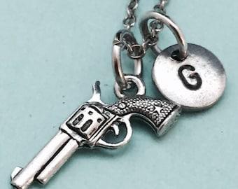 Gun necklace, gun charm, weapon necklace, personalized necklace, initial necklace, initial charm, monogram