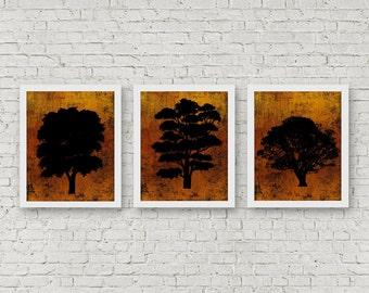 Set Of 3 Art Prints - Tree Silhouette Printable Wall Decor - Office Wall Art Set - Nature Art Print - Tree Decor Poster - 8 x 10 Print