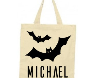 Halloween Trick or Treat Bag, Personalized Bats Halloween Tote Bag, Durable Canvas Tote Bag, Black Halloween Bag, Candy Collector