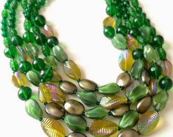 Vintage Green Glass Necklace, Glass Multi Strand Necklace, Vintage Glass Necklace