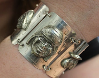 Storyteller Faces Peruvian .900 Silver Bracelet - Peru Link Bracelet High Relief Portraits - See item details for more info