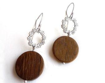 Sterling Silver Flower Wreath & Wood Earrings - Earrings 319 and 320 for EAD2015