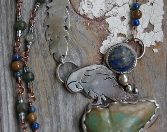 Owl Totem Necklace - Turquoise and Lapis Necklace - Handmade Chain Necklace