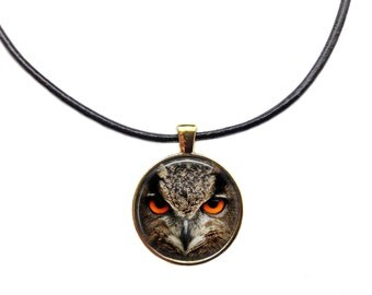 Bird jewelry Owl necklace Animal pendant