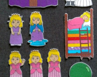 Princess and the Pea Felt Board Set// Flannel Board Story Set // Preschool // Teacher Story // Fairy Tale