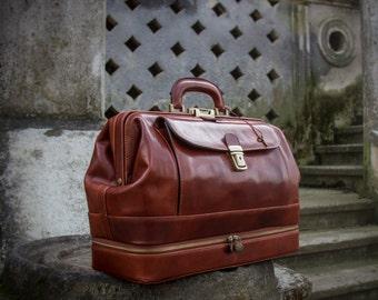Leather Doctor Bag,large brown leather medical bag,leather bag, Briefcase,hanfbag -The Master and Margarita