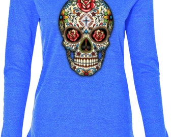 Ladies Skull Shirt Sugar Skull with Roses Tri Blend Hoodie Tee T-Shirt WS-16553-W3101