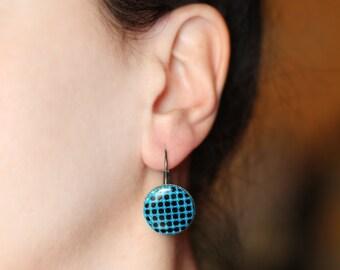 Blue earrings, Blue dangle earrings, Geometric earrings, Minimalist earrings, Modern earrings, Contemporary jewelry gift, Polka dots earring