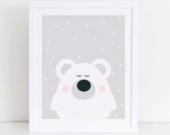 Polar Bear Art Print, Polar Bear Printable, Scandinavian, Animals Nursery Wall Art, Instant Download, Digital Art, Scandinavian Nursery