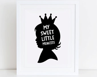 Little Princess Art Print, Scandinavian, Instant Download, Printable Art, Digital Print, Sweet Little Princess Print, Nursery Wall Art