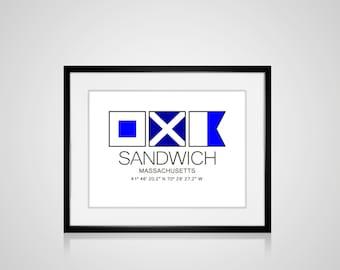 """SANDWICH, Massachusetts Nautical Flag Art Print  Is 8"""" x 10"""" Or 11"""" x 14"""" Ocean Beach Cabin Lodge Coastal Decor Home"""