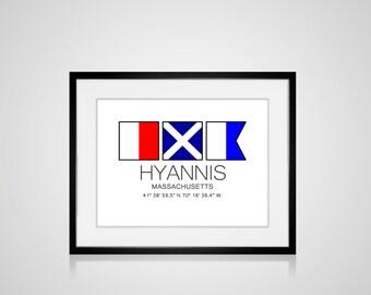 """HYANNIS, Massachusetts Nautical Flag Art Print  Is 8"""" x 10"""" Or 11"""" x 14"""" Ocean Beach Cabin Lodge Coastal Decor Home"""