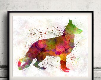 German Sherpherd dog 01 in watercolor 8x10 in. to 12x16 in. Fine Art Print Glicee Poster Decor Home Watercolor Illustration - SKU 1028