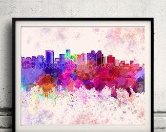 Bellevue skyline in watercolor background 8x10 in. to 12x16 in. Poster Digital Wall art Illustration Print Art Decorative - SKU 1307