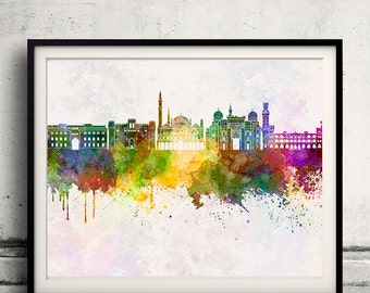 Alexandria skyline in watercolor background - Poster Digital Wall art Illustration Print Art Decorative - SKU 1396