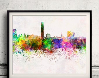 Santiago de Chile skyline in watercolor background - Poster Digital Wall art Illustration Print Art Decorative - SKU 1421