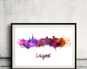 Lagos skyline in watercolor over white background with name of city - Poster Wall art Illustration Print - SKU 1469