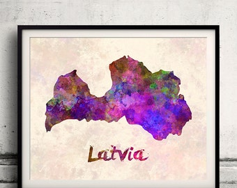 Latvia - Map in watercolor - Fine Art Print Glicee Poster Decor Home Gift Illustration Wall Art Countries Colorful - SKU 1699