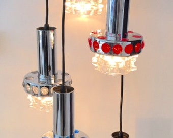 vintage pendant light table lamp RAAK made in Holland Space Age glass chrome orange 60's- 70's cascading
