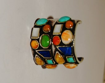 """Vintage Sterling Silver Multicolor Stone 1"""" Hoop Earrings."""
