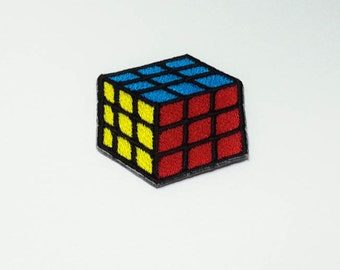 Rubik Cube Iron on Patch(M) - Rubik Cube Applique Embroidered Iron on Patch  Size 4.0x4.7 cm