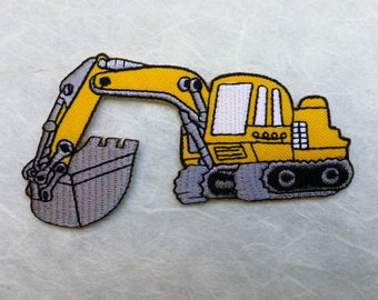 Soil Excavator Iron on patch (L) 9.7  x 5.0 cm - Yellow Soil Excavator Applique Embroidered Iron on Patch