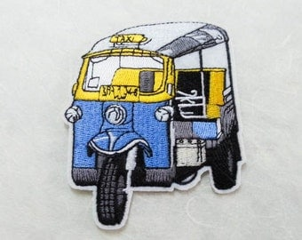 Tuk Tuk  Thai Taxi Iron on Patch (L) 7.1 x 8.9 cm - Tuk Tuk Car Applique Embroidered Iron on Patch