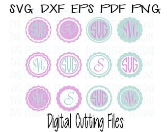 SVG Circle Monogram Frames, Svg Cut Files, Svg Dxf Eps Png Cutting files for Silhouette, Cricut & More, Scalloped Circle Monogram Frame Set