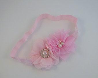 Pink Headband, Baby Headband, Girls Headband, Flower Headband, Newborn Headband, Headbands, Cake Smash Outfit, Photography prop
