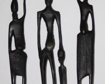 Set of Three Vintage Hand Carved African Figures-Thin/Elongated-Dark Ebony Wood