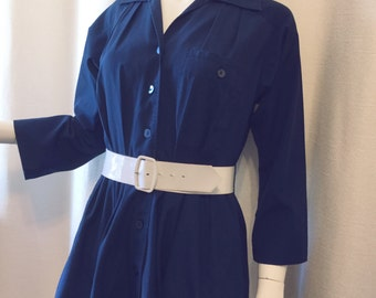 Blue 80s Button-down Dress