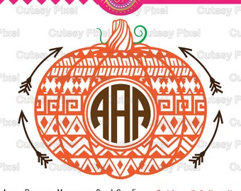 Aztec Pumpkin monogram frames svg, cricut pumpkin svg,haloween svg,aztec svg, Designs Svg cutting file,Cricut Design Space,Digital Cut Files