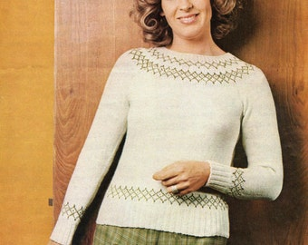 Ladies Knitting Pattern - Fair Isle Sweater Pattern - 4 ply - 34 to 36 inches