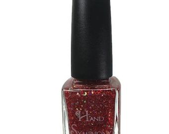 Sangria~Red Nail Polish,Red Glitter Nail Polish,Holographic Polish,5-Free Nail Polish,Vegan Nail Polish,Red/Gold Glitter Nail Polish,Polish