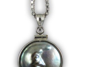 Black Pearl Man In The Moon Necklace
