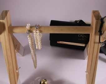 Handcrafted timber mini jewellery / accessory rack - White